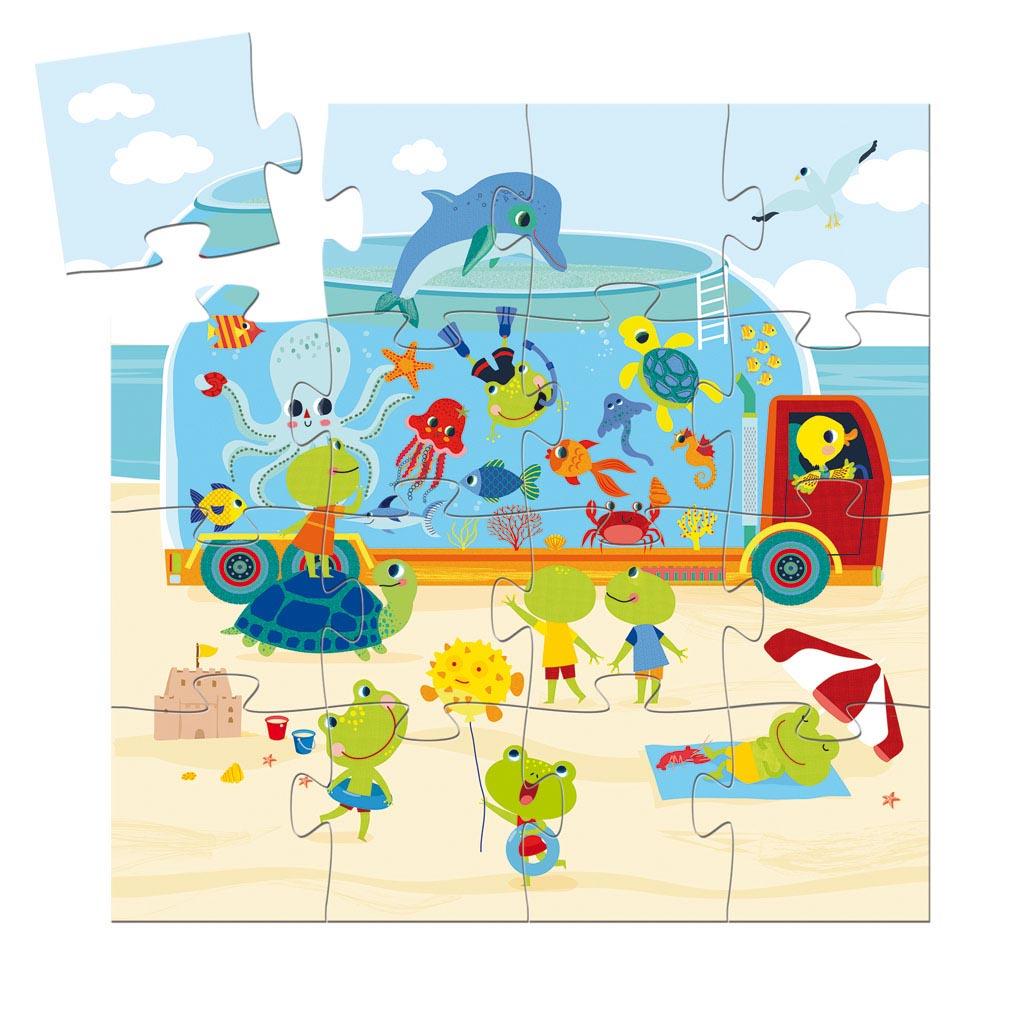 Djeco Puzzle, Silhouette, Pojazdné akvárium, 16 ks