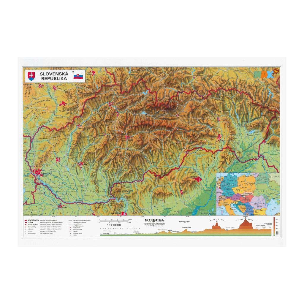 Mapa A3 SR fyzická/administratívna - obojstranná zalaminovaná