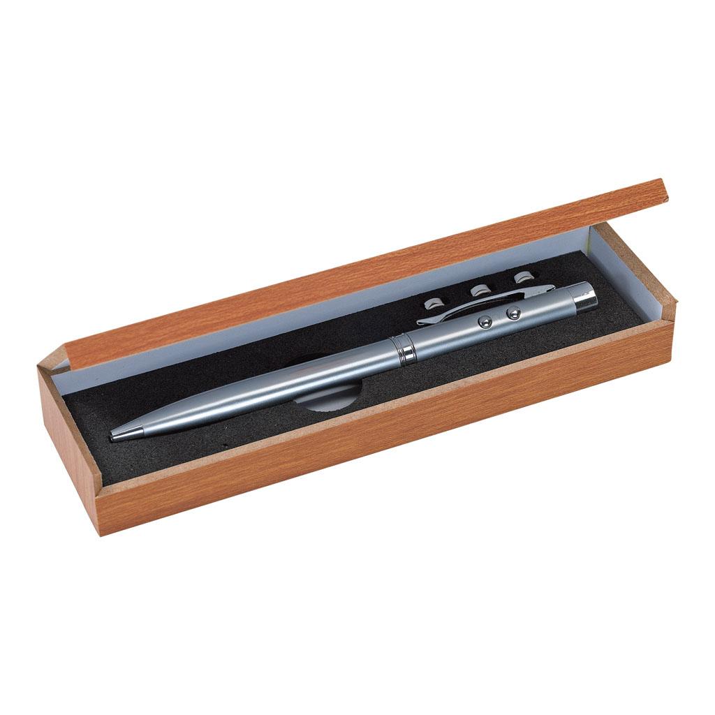 Guľôčkové pero s laser. ukazovadlom a LED svetlom, čierna náplň