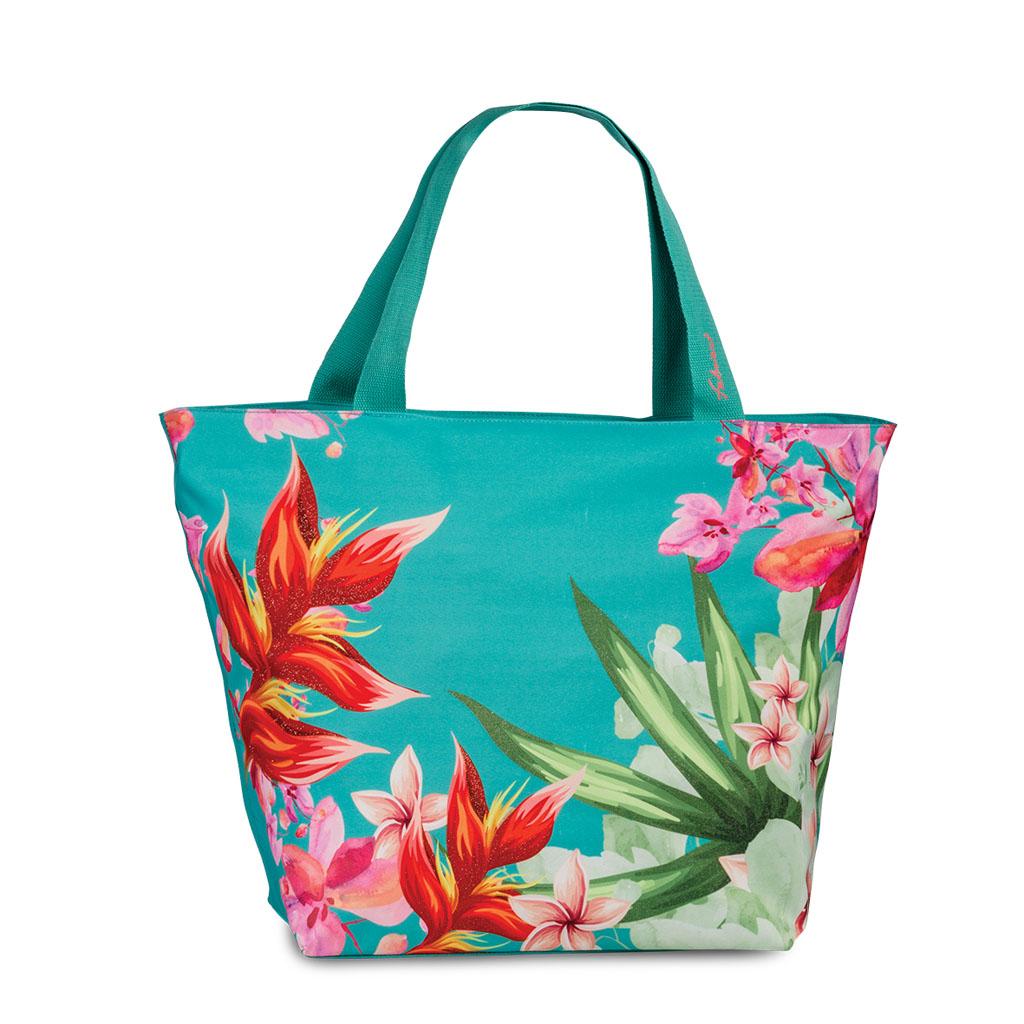 Fabrizio plážová taška s potlačou trblietok, 38/58x40x20cm, modro-zelená