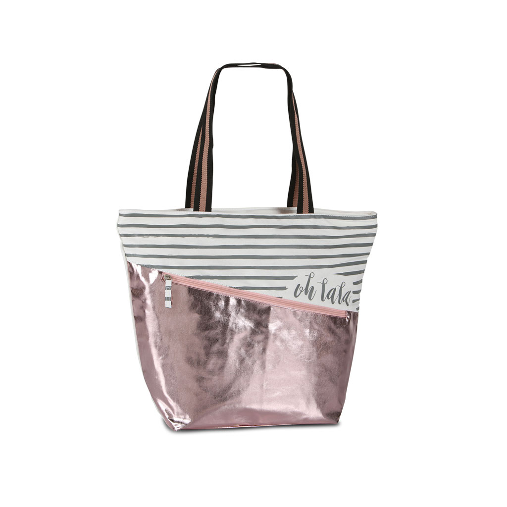 Fabrizio taška na rameno, 30/48x40x15cm, metalická, ružová