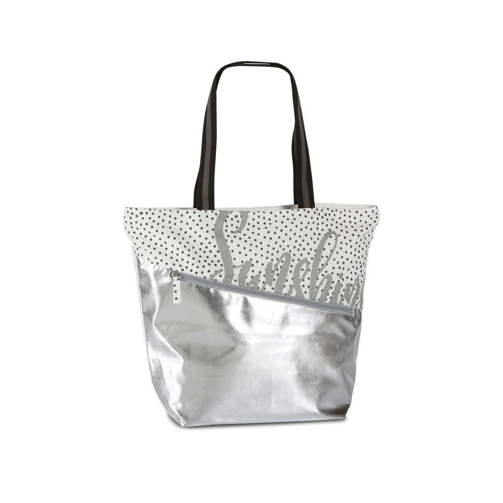 Fabrizio taška na rameno, 30/48x40x15cm, metalická, strieborná