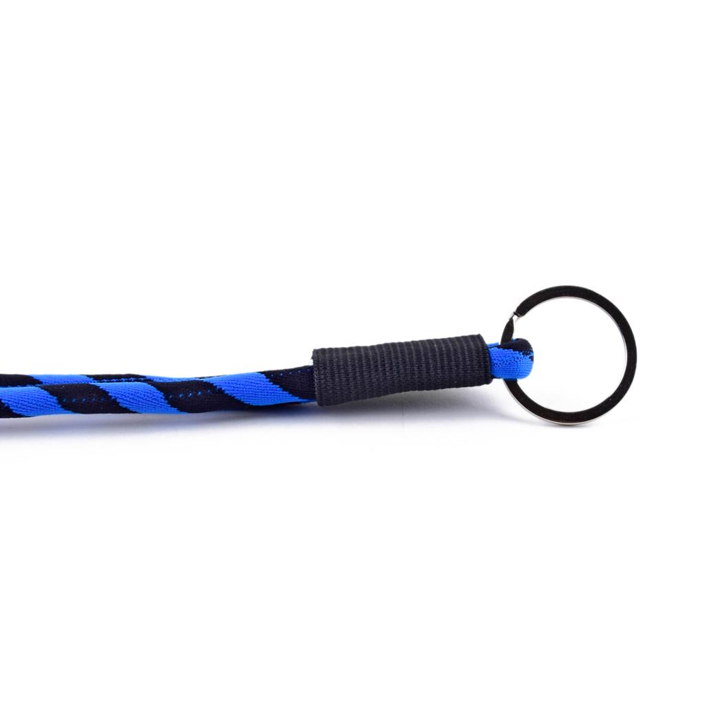 Šnúrka na krk s krúžkom, modro-čierna
