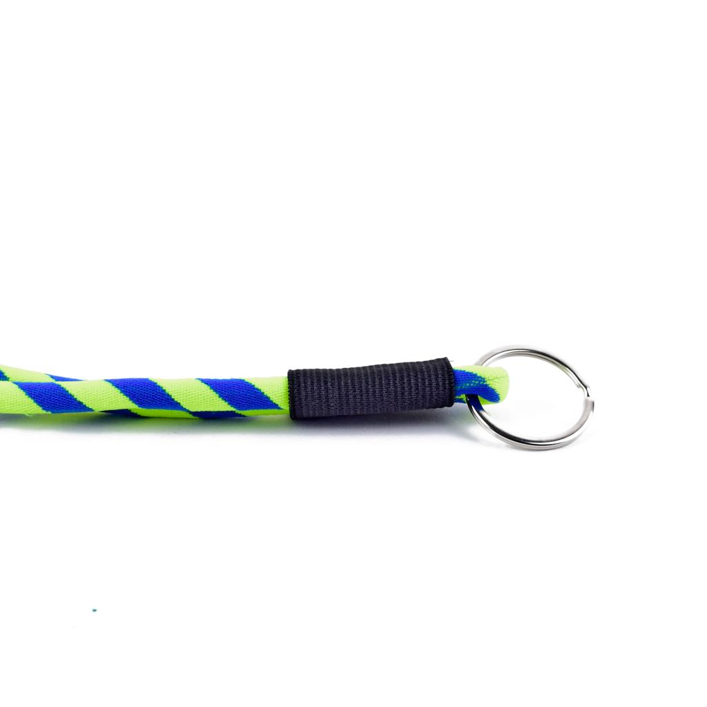 Šnúrka na krk s krúžkom, modro-žltá