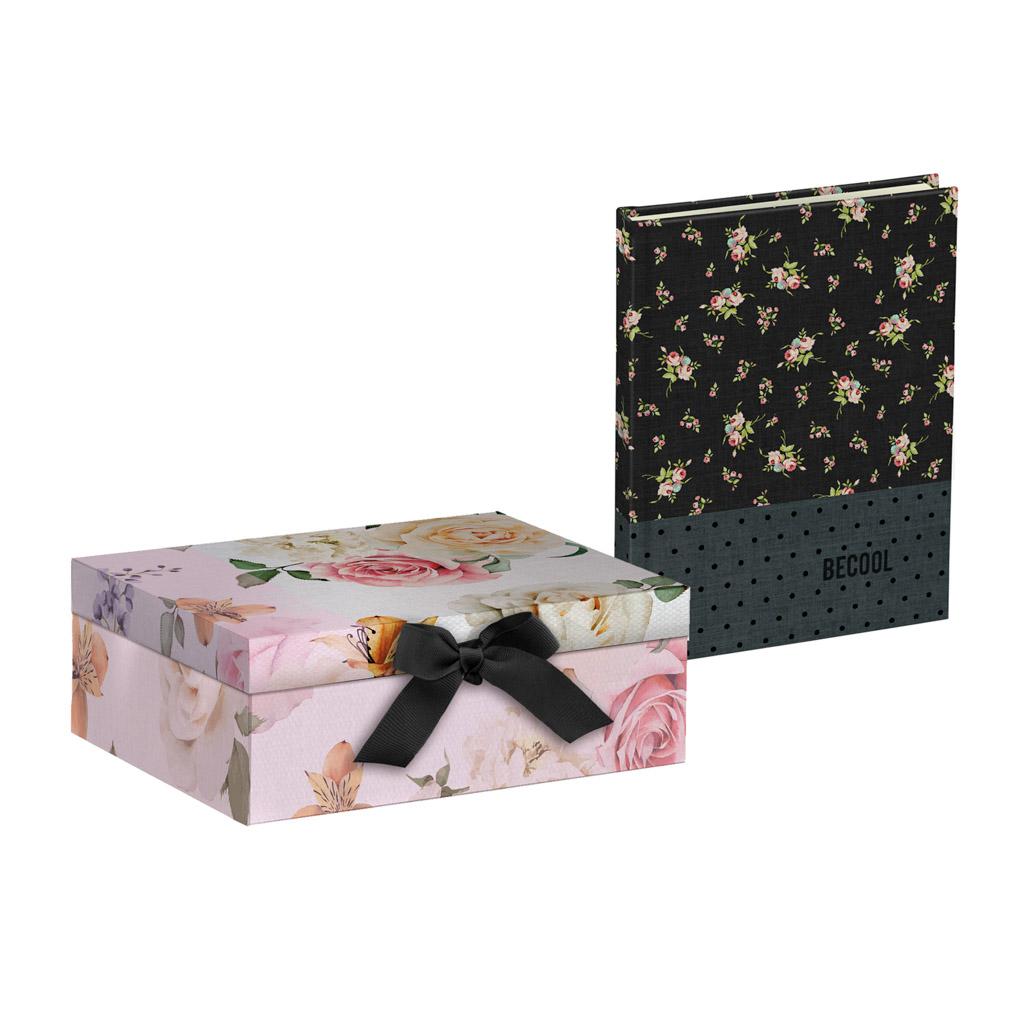 Darčekový box Busquets, BECOOL Roses, 20x16x7cm a blok A5 Sweet