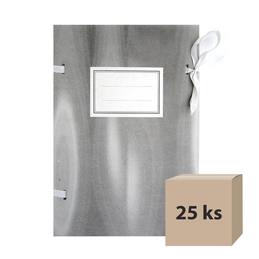 Dosky spisové A4 so šnúrkami - šedé, 25 ks