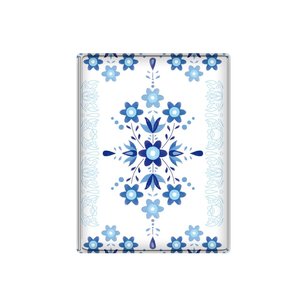 Obal na doklady, 10 x 13 cm, PVC, lesklý, ľudový ornament modrý