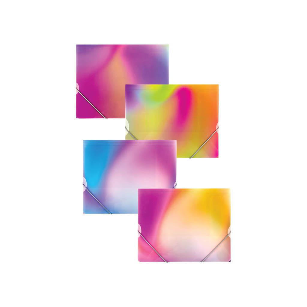 Odkladacia mapa OM3 PP s gumou, mix dúhových farieb