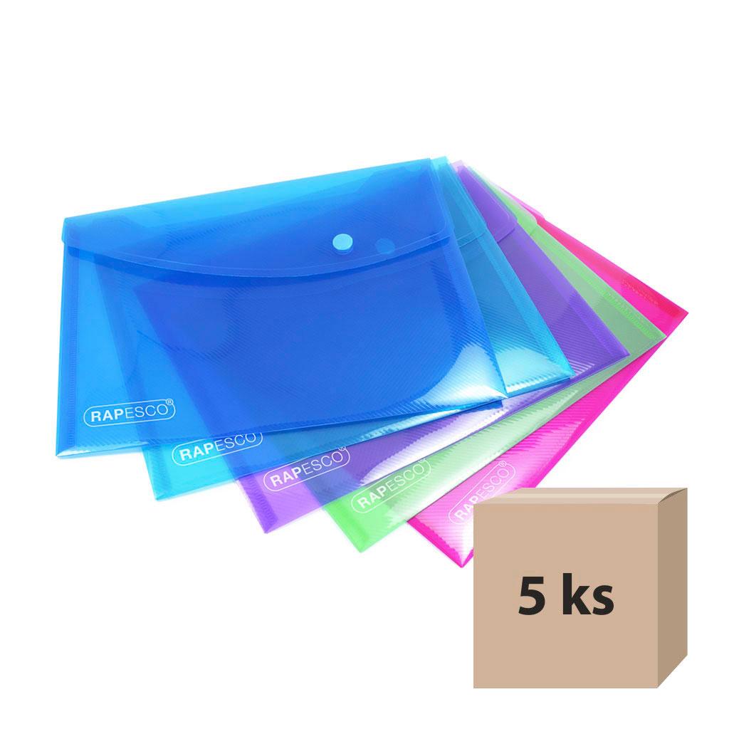 Obal spisový so zapínaním A5, PP - mix farieb, 5 ks