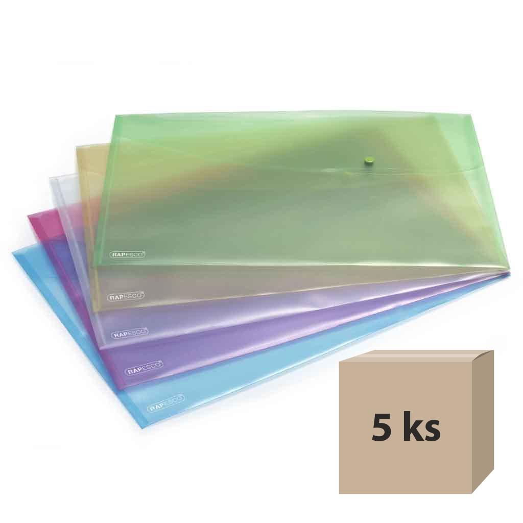 Obal spisový so zapínaním A3, PP - mix farieb, 5 ks