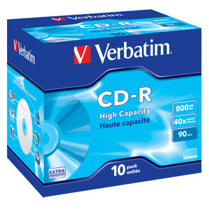 CD-R Verbatim 90 min, 800MB, 40x, plastový jewel obal - 43428