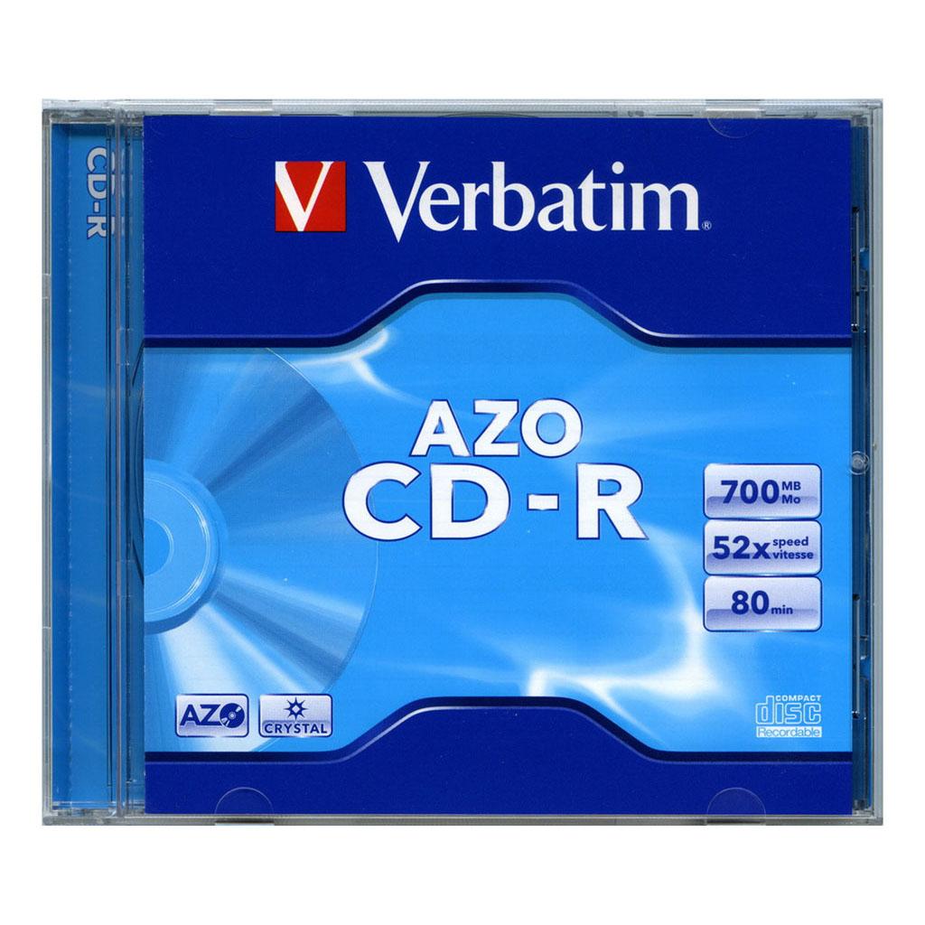 CD-R Verbatim AZO Crystal 80 min, 700MB, 52x, plastový jewel obal - 43327