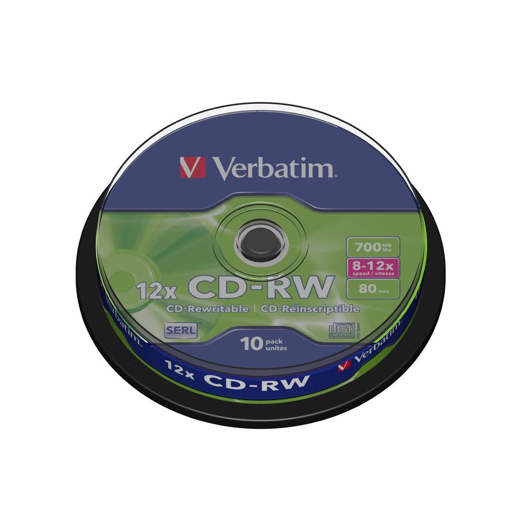 CD-RW Verbatim 80 min, 700MB, 12x, cake obal - 43480 (10ks/bal)