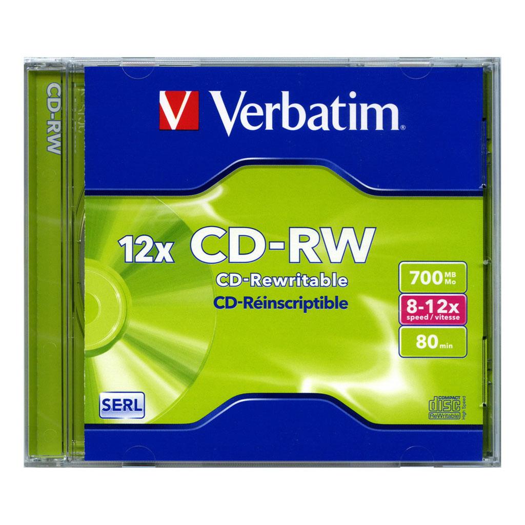CD-RW Verbatim 80 min, 700MB, 8-12x, plastový jewel obal - 43148