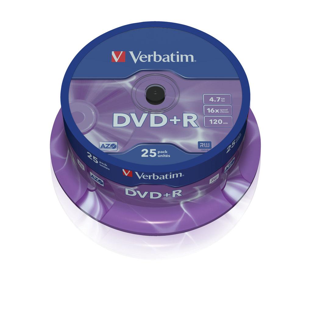 DVD+R Verbatim 4,7GB, 16x, cake obal - 43500 (25ks/bal)