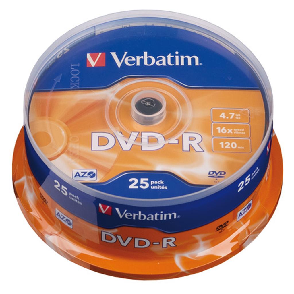 DVD-R Verbatim 4,7GB, 16x, cake obal - 43522 (25ks/bal)