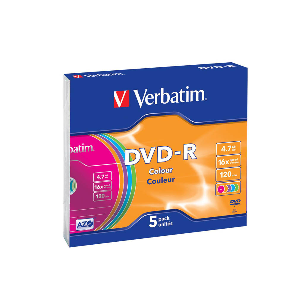 DVD-R Verbatim 4,7GB, 16x, slim box (color) - 43557