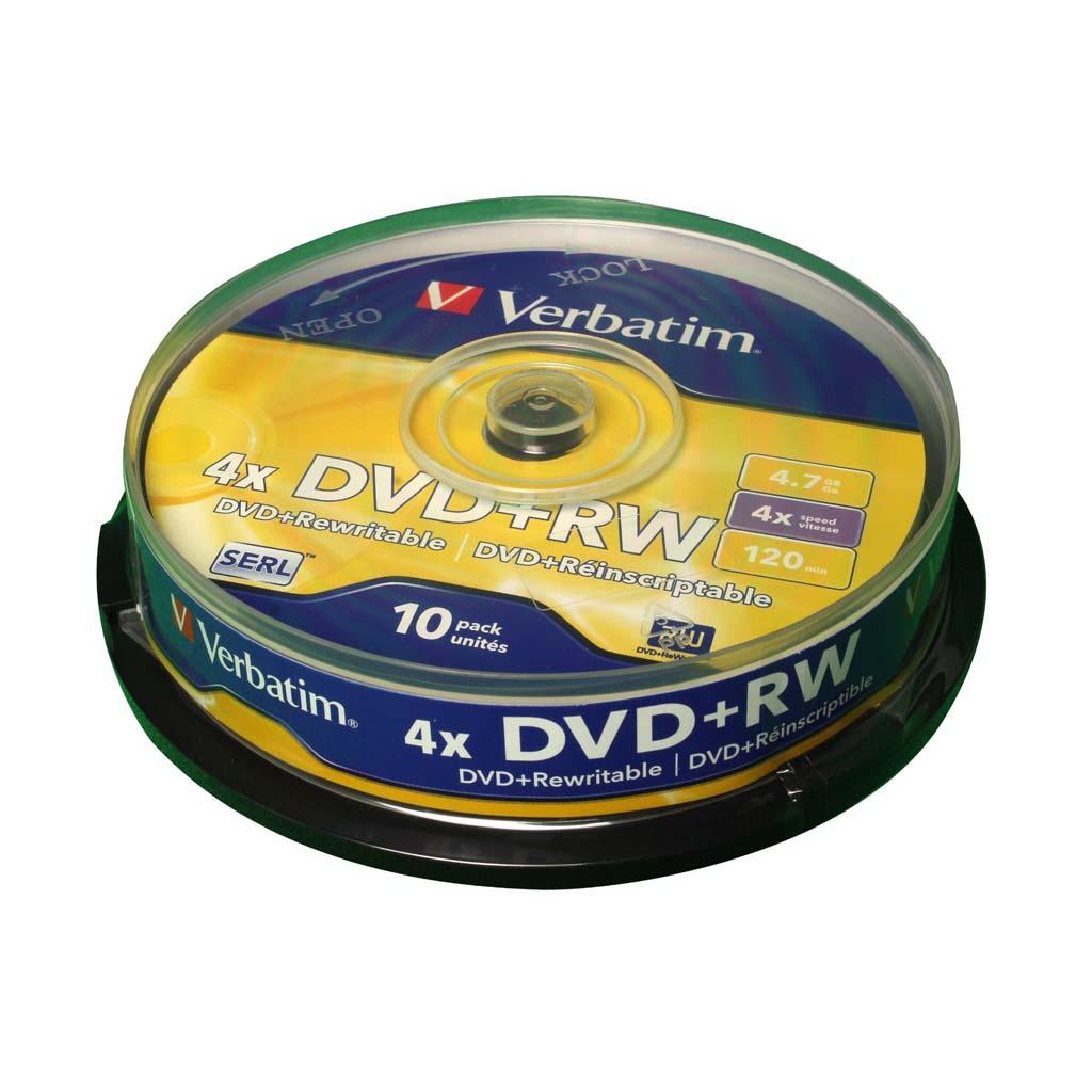 DVD+RW Verbatim 4,7GB, 4x, cake obal - 43488 (10ks/bal)