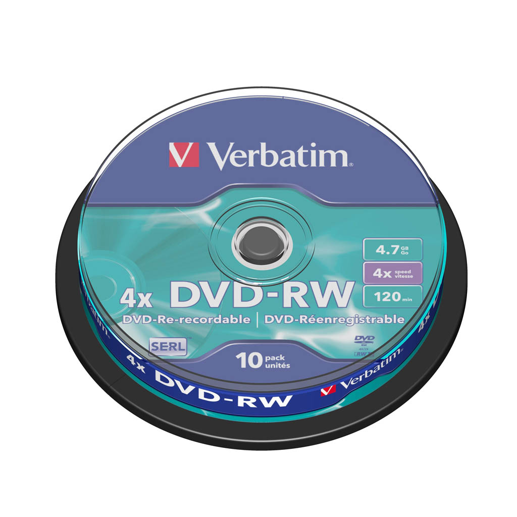 DVD-RW Verbatim 4,7GB, 4x, cake obal - 43552 (10ks/bal)