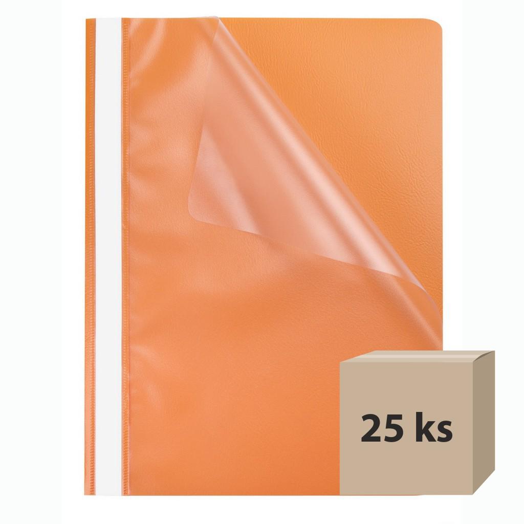 Rýchloviazač PP A4 priehľad. - oranžová, 25 ks