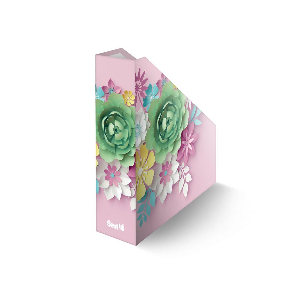 Zásobník lamino A4  - 3D kvety ružové