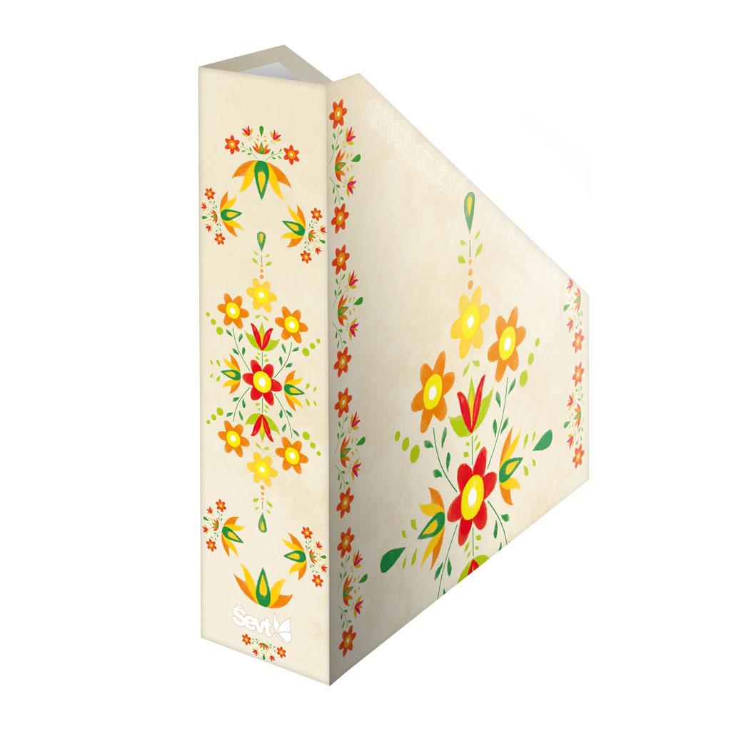 Zásobník lamino A4 - ľudový ornament žltý