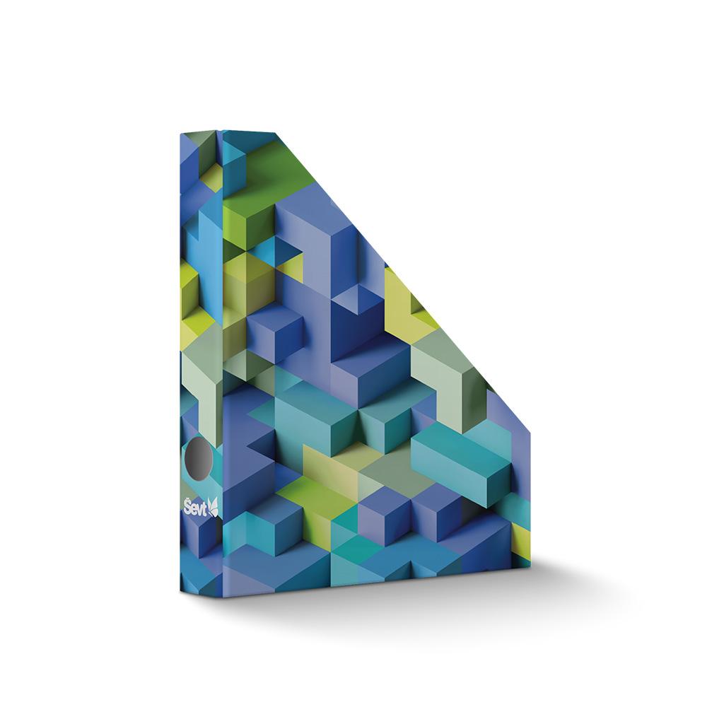 Stojan na časopisy papierový A4 3D kocky modré