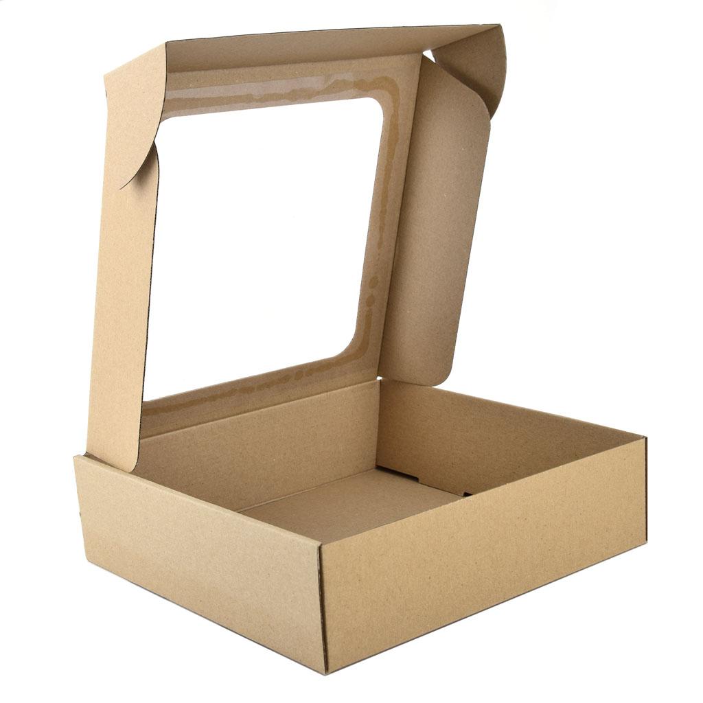 Krabica s okienkom na zákusky - 25cm x 25cm x 7 cm natur