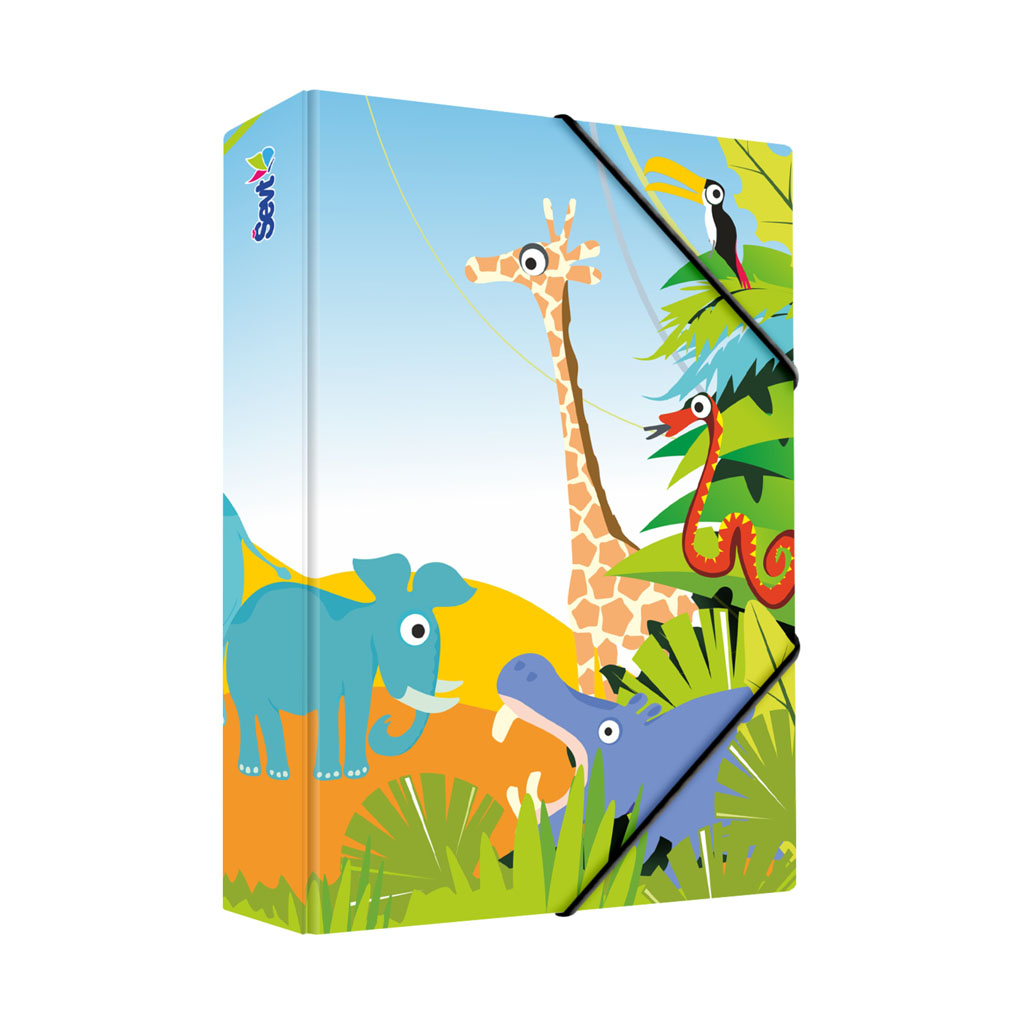 Dosky s boxom A5 lamino - zvieratká v džungli