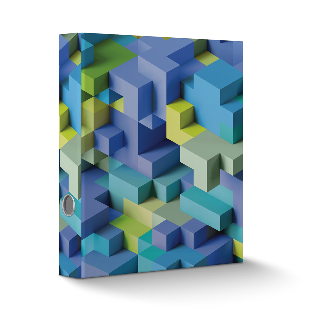 Zakladač pákový A4 6cm lamino - 3D kocky modré