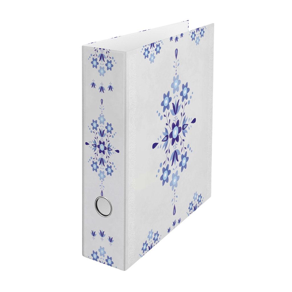 Zakladač pákový A4 8cm lamino - ľudový ornament modrý