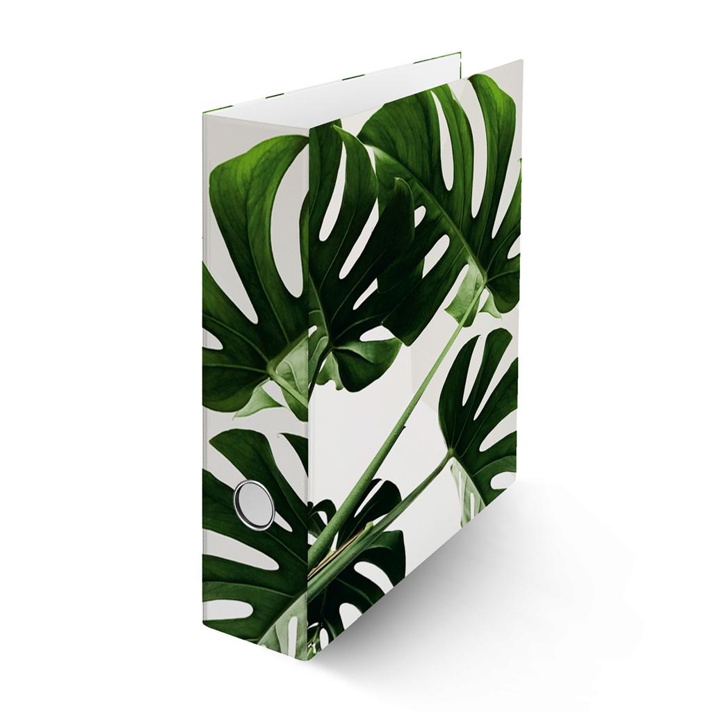 Zakladač pákový A4 8cm lamino - tropické listy - monstera