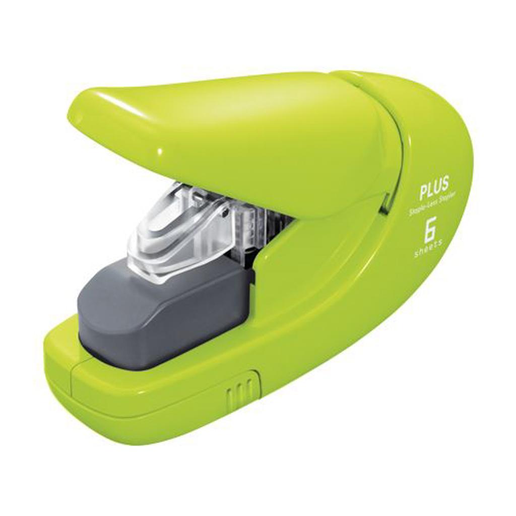 Zošívačka PLUS Paper Clinch mini - bezsponová, f. zelená
