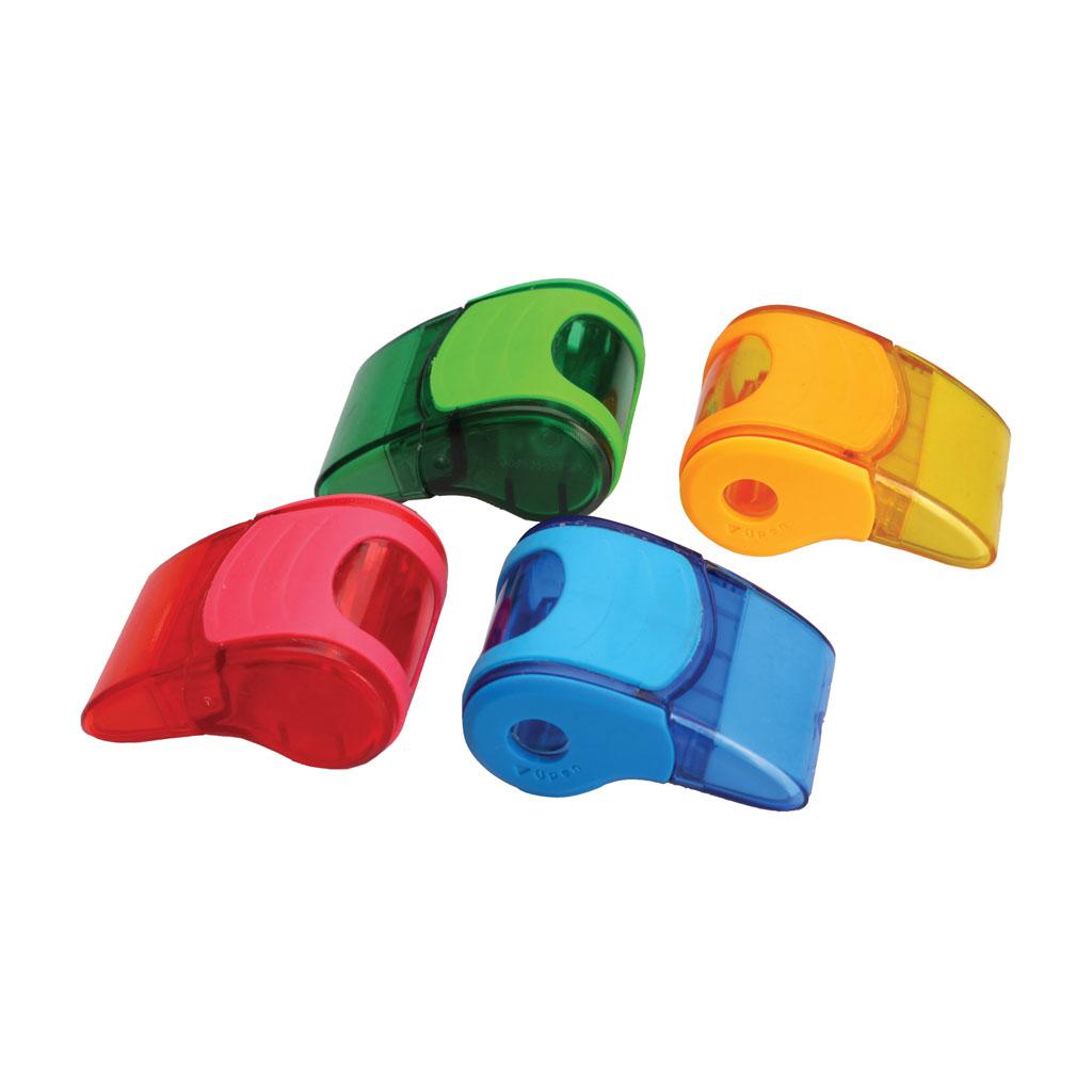 Strúhadlo v tvare píšťalky s gumou a pl. zásobníkom, mix farieb