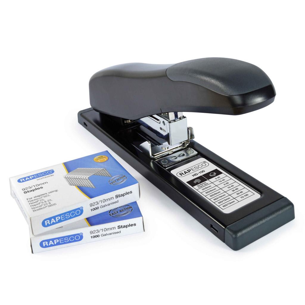 Rapesco Veľkokapacitná zošívačka HD-100 ECO - čierna + 2x Spony zošívacie 23/10/1000