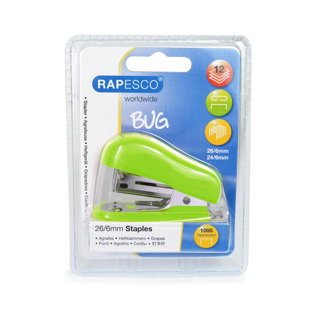 Rapesco Zošívačka Mini Bug 24-26/6, 12 l. + Spony zošívacie - zelená blister