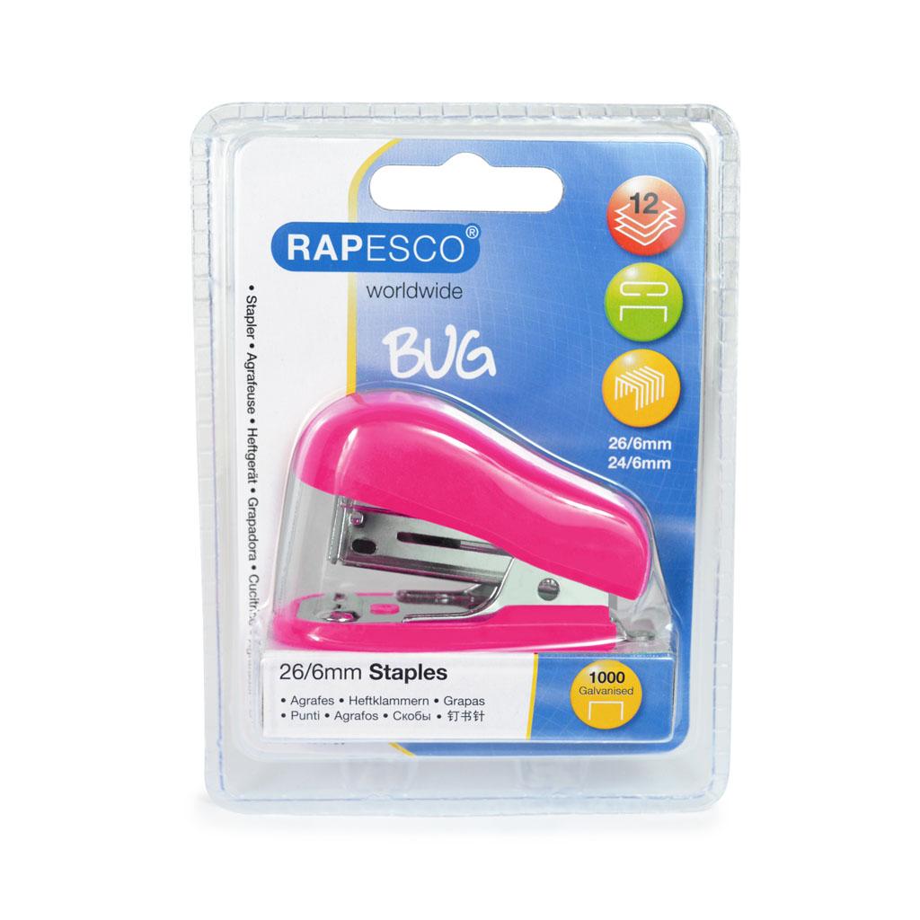 Rapesco Zošívačka Mini Bug 24-26/6, 12 l. + Spony zošívacie  - ružová blister
