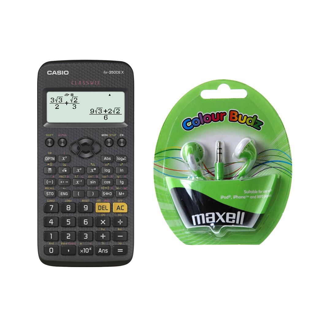 Kalkulačka Casio FX 350 CE X s mat. funk. + slúchadlá Maxell Colour Budz green