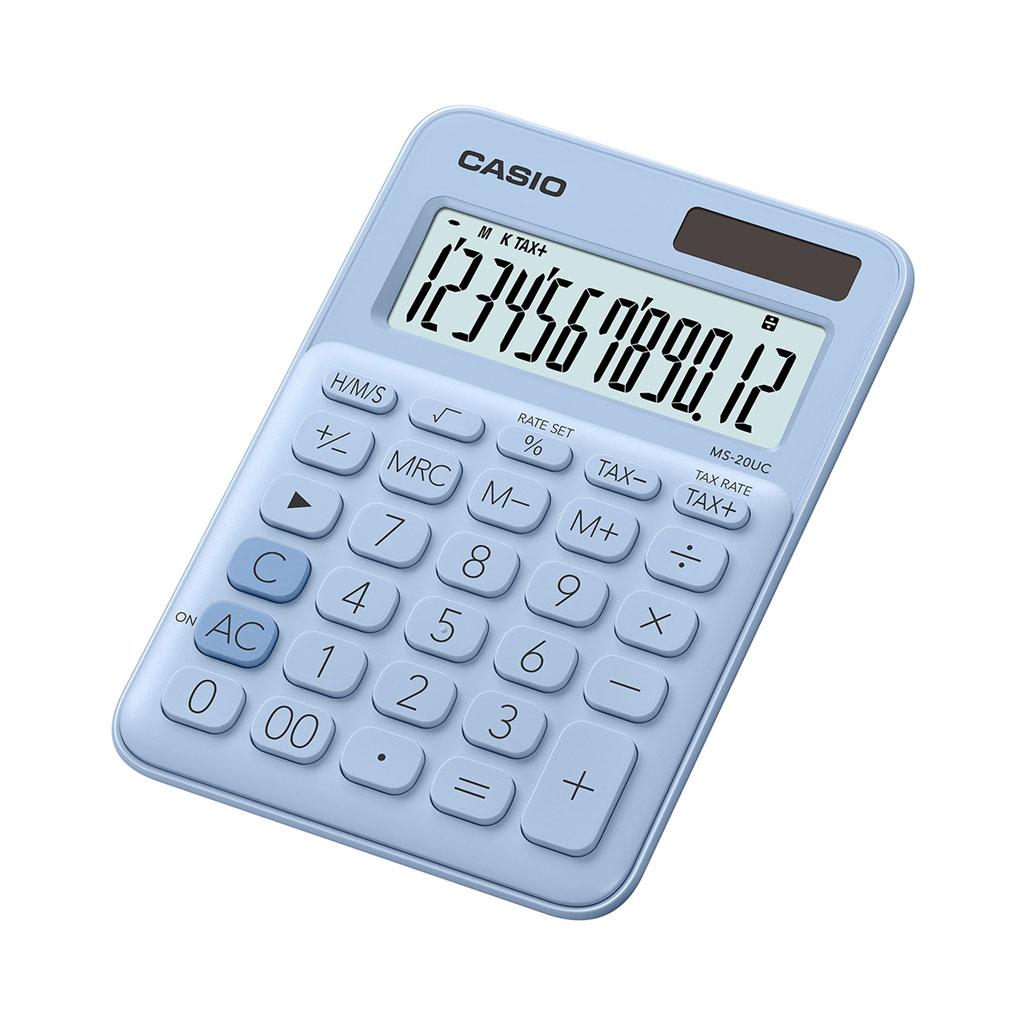Kalkulačka Casio MS 20UC/LB - modrá / stolová, 12m.