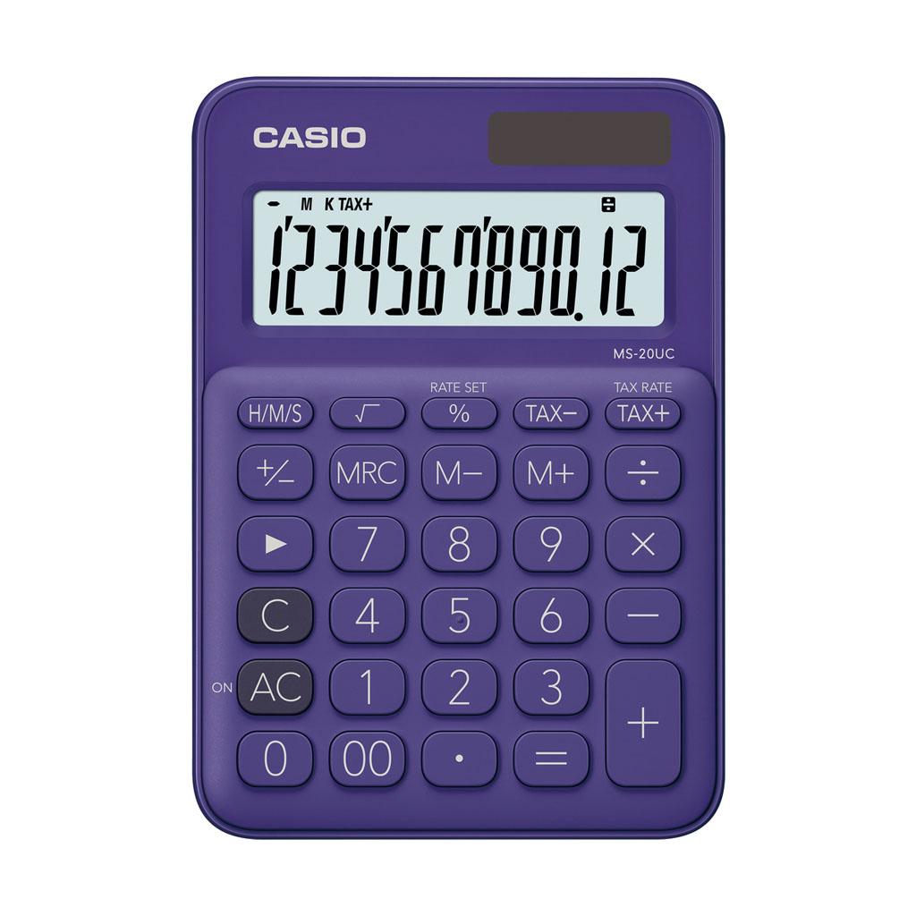 Kalkulačka Casio MS 20UC/PL - fialová / stolová, 12m.