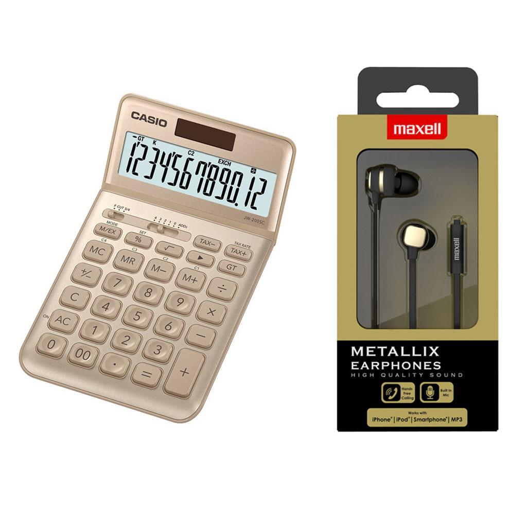Kalkulačka Casio JW 200SC/GD - zlatá / stolová, 12m. + slúchadlá Maxell