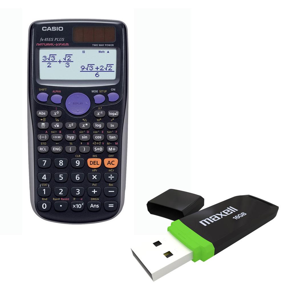 Kalkulačka Casio FX 85 ES Plus s mat. funk., 10+2m. + USB Maxell, 16 GB