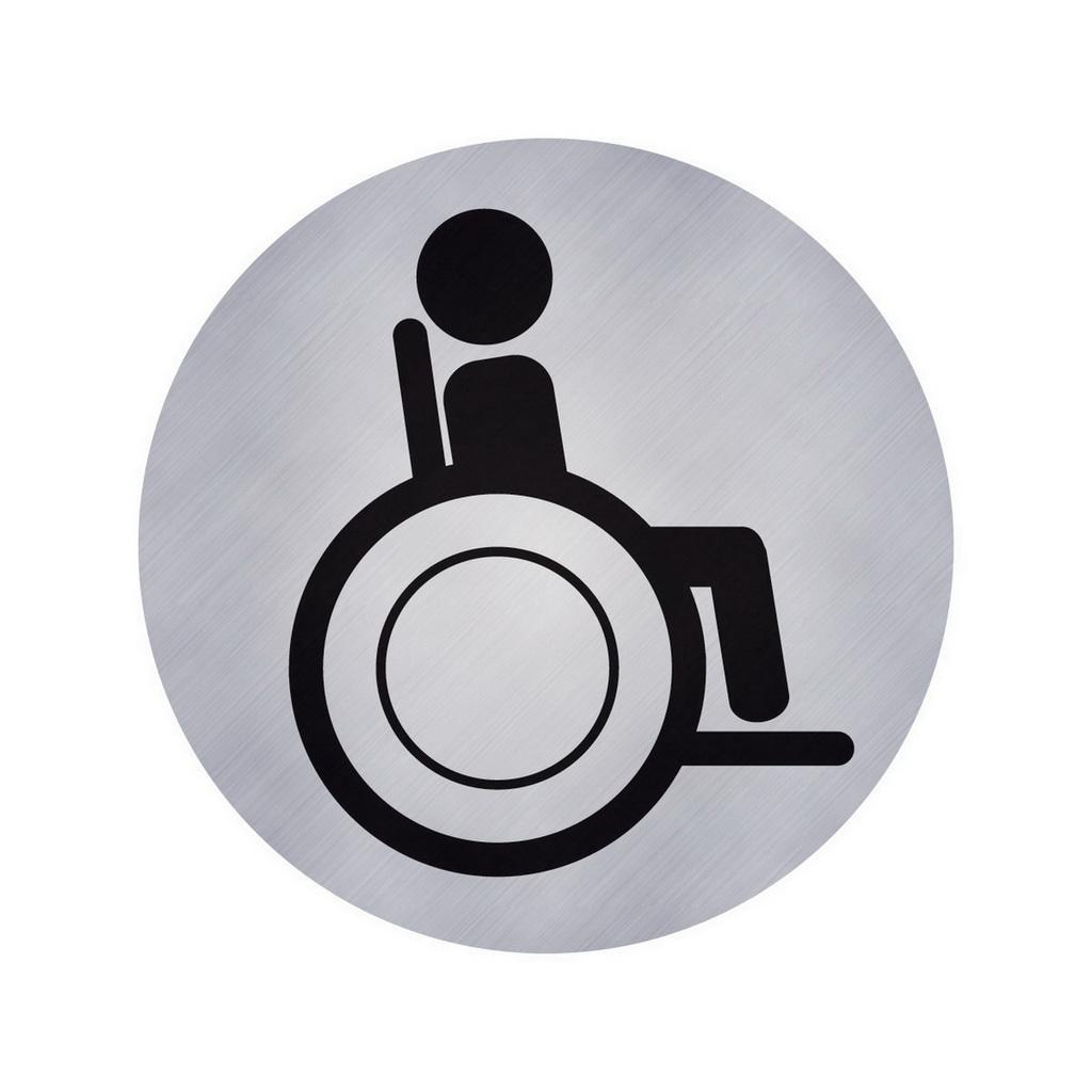 """AVERY Piktogram """"vozíčkár WC"""", O 75, strieborný / 1 etiketa v blistri"""