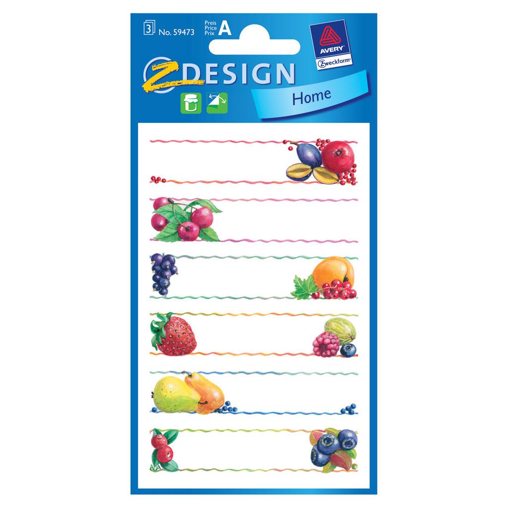 Etikety 6 druhov ovocia, 59473 / 3 hár v bal