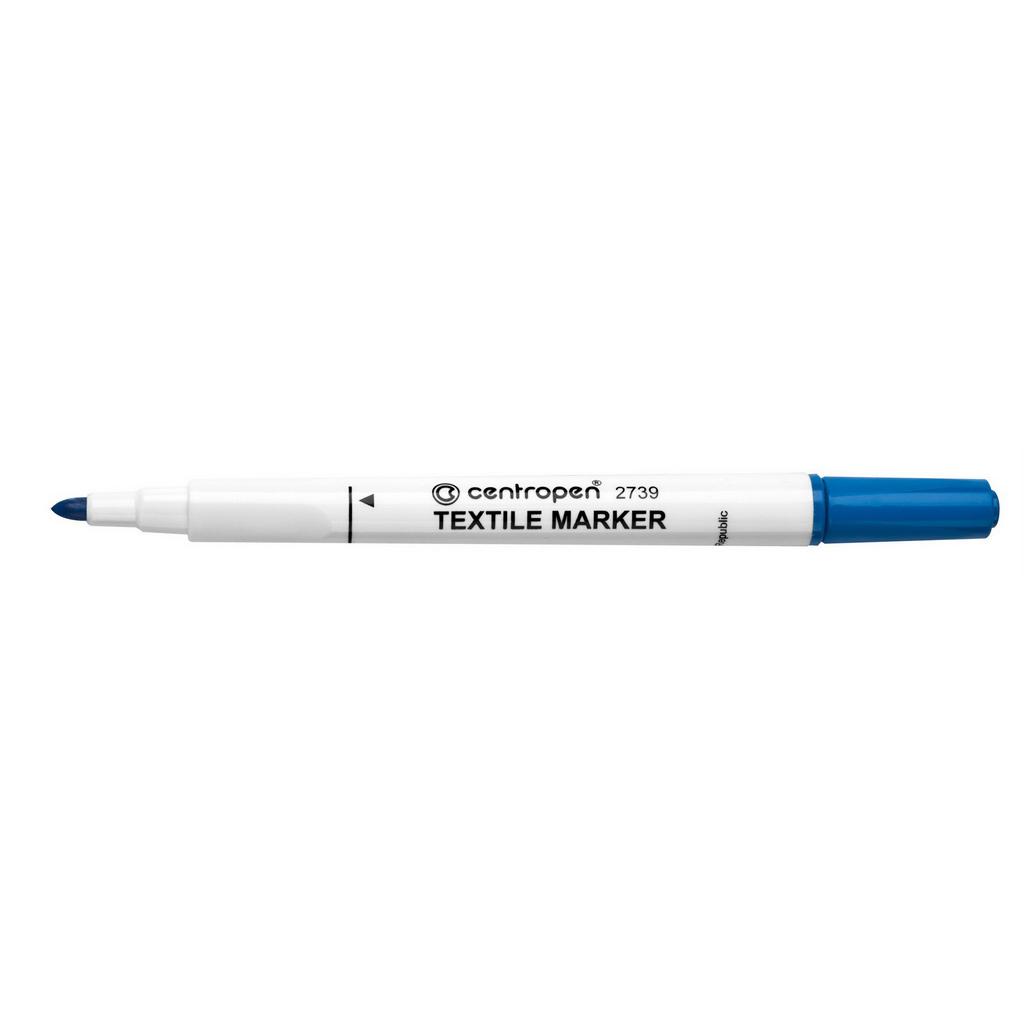 Centropen Popisovač 2739 na textil, okrúhly hrot 1,8 mm, modrý