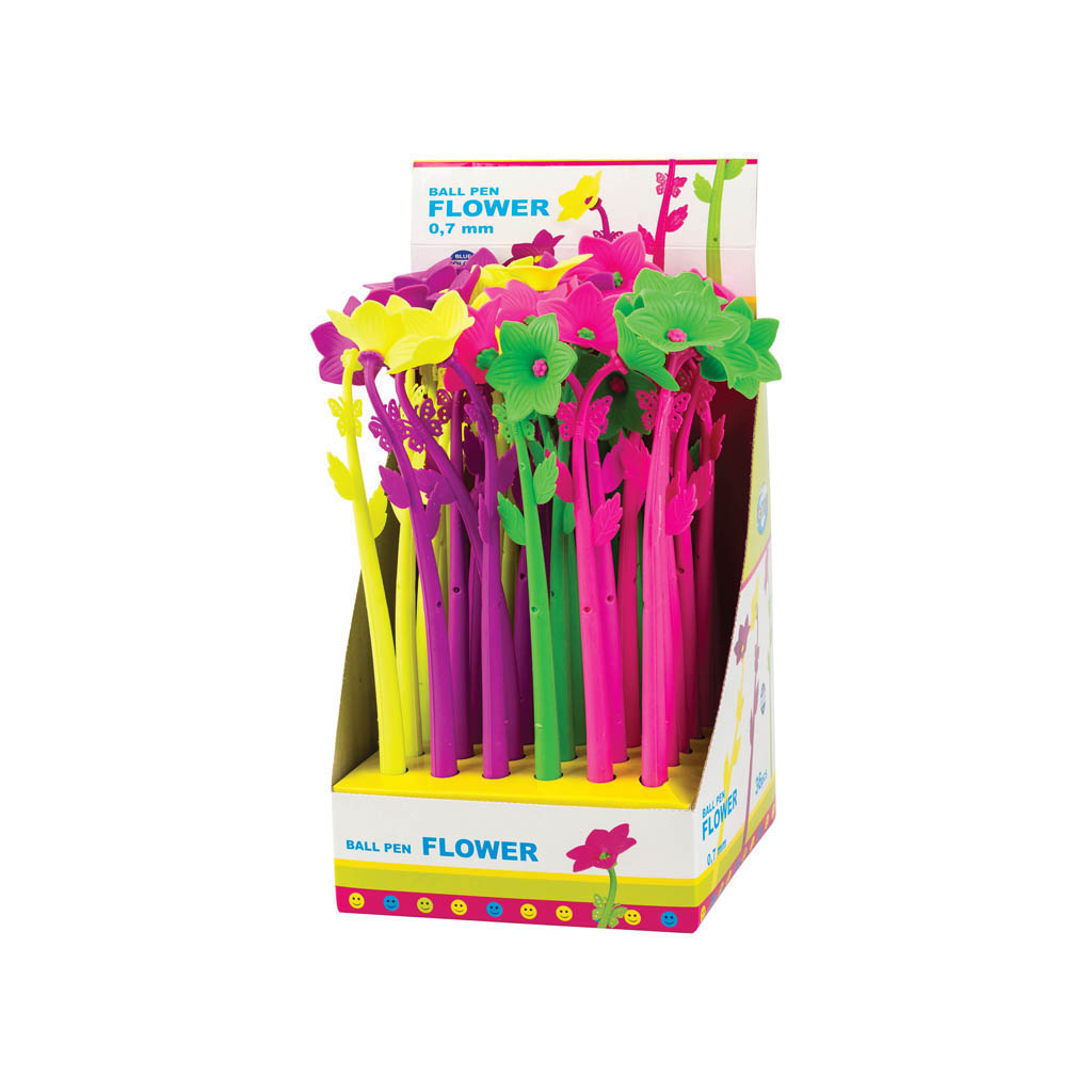 Guľôčkové pero Kvet, modrá náplň, mix farieb