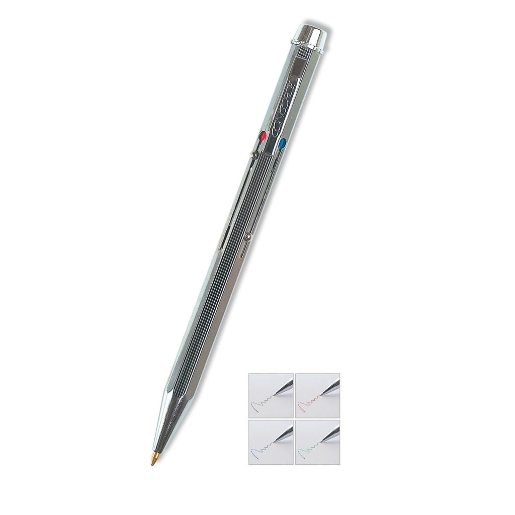 Pero guľôčkové WISKONT kovové strieborné 4-farebné