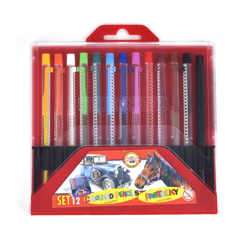 Farbičky pastel. výsuvné 4012 / 12 ks SCALA