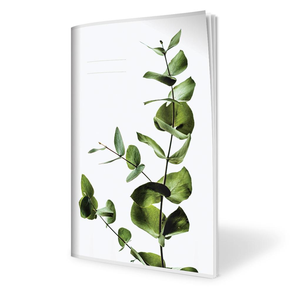 Zošit 440, A4 čistý s okrajom, 40 l., tropické listy - eukalyptus 2019