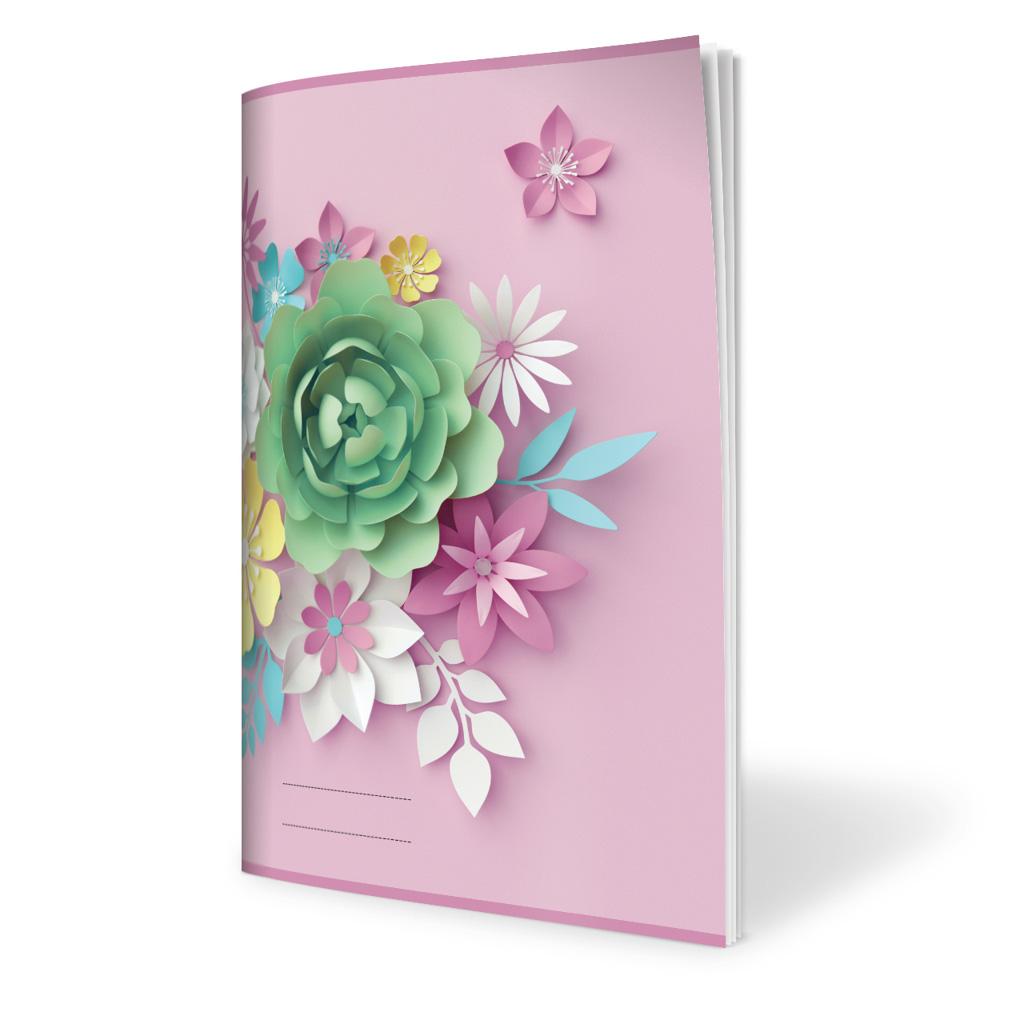 Zošit 564, A5 linajkový (8 mm), 60 l. - 3D kvety ružové 2019